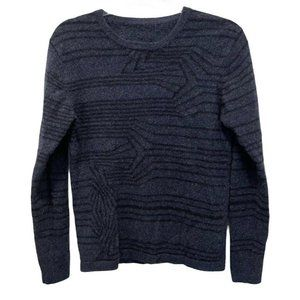 Qi Cashmere Navy Blue and Black Striped Sweater M